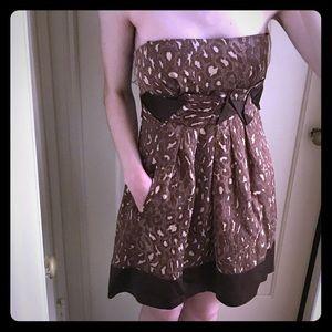 BCBGMaxAzria strapless leopard/cheetah print dress